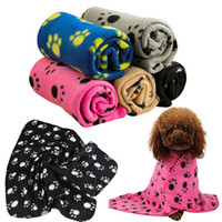 Wholesale Pet Blankets Paw Prints Blankets for pet cat and dog Soft Warm Fleece Blankets Mat Bed Cover