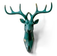 Wholesale Deer Head Single Wall Hook Hanger Animal shaped Coat Hat Hook Heavy Duty Rustic Recycled Decorative Gift Rustic Bronze Color