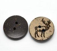 al por mayor botones de concha de coco naturales-Kimter Brown Natural Coco Shell patrón botones de madera con 2 agujeros 18 mm para la ropa de la muñeca DIY Craft proyectos paquete de 100pcs I611L