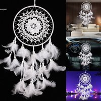 antique used cars - 2017 New DIY Dream Catcher with Feathers Wall Hanging Decoration Ornament Gift Uses for Home Car White Feather Fabric ABS