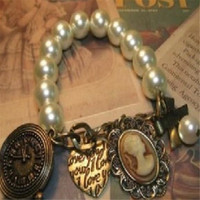 ban ring - Bracelet Fashion Bangle Men Women Girl Love Chain Bangle Rings Bohemian Bronze Heart Queen Pearl Vintage Bracelet Ban