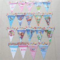 Wholesale elsa anna winnie ect theme cartoon pennants paper flag birthday theme party decoration set banner including flags m
