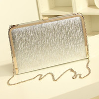 Wholesale Fashion Women Evening Party Bags Bling Gold Silver Shimmering Large And Small Two Size Day Clutch Dinner Purse Wedding Bride Bag