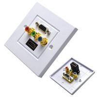 20pcs / lot HDMI VGA 3RCA composite vidéo mur mur Face panneau (1 HDMI + 3 RCA + 1 VGA) -White