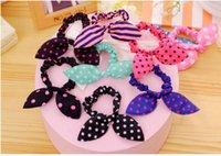 Wholesale Hair Rope Girl kids Hair Accessories Rabbit Ears Hair Tie Polka Dot Elastic Ponytail Holder Hairwear Tie Gum
