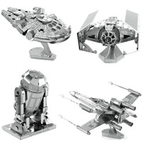 Wholesale D Metal Puzzle Full Set Star Wars R2D2 X Wing Millennium AT AT Destroyer Droid Tie Fighter Empire DIY Assembly Children s Toys
