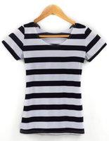 achat en gros de zèbre t-shirt pour les femmes-KNITTING EAST X-091 Nouveau 2015 Vertical Zebra Stripe Print femmes t-shirt été noir blanc horizontal stripe punk top sexy