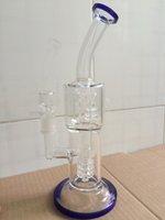 Precio de Aparejo de jaula-2017 de alta calidad de vidrio grueso Bongs Doube Tiny Cage Filtros de vidrio de tubería de agua con Honeycomb Percolator agua Bong para tabaco de vidrio Oil Rig
