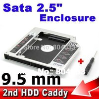 Wholesale 2nd Caddy Bay SATA to SATA HDD MM Case quot SSD Hard Disk Driver External Enclosure CD DVD ROM Laptop Tablet PC Notebook