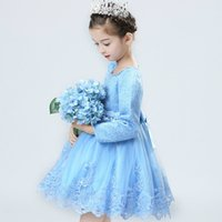 Wholesale Korean version of the girls princess skirt Pompon skirt autumn long sleeved lace embroidered dress small children s dress plus velvet