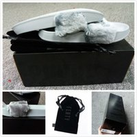 Wholesale Fenty Slipper With Box and Dust Bag Gray Black White Pink Color Leadcat Fenty Rihanna Shoes Women Slippers Indoor Sandals Girls Slipper Free
