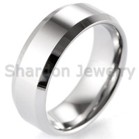 bevel clusters - Men Ring mm Bevel Edged High Polished Tungsten Ring Classic Wedding Band size