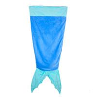 Cheap Mermaid Blanket Shark Towel Envelopes for 5-12T Kids Soft Handmade Animal Sleeping Bag Pajamas Overalls Children Quilt Velvet