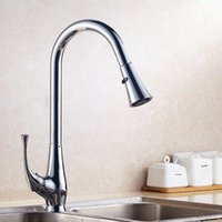 Wholesale DHL Modern Brushed Kitchen Sink Faucets With Deck Mounted Pull Out And Down Kitchen Sink Faucet With Sprayer HS337