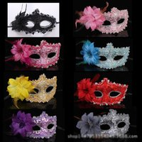 Wholesale Fashion Women Sexy mask Hallowmas Venetian eye masquerade with flower feather Easter mask dance party holiday mask drop shipping