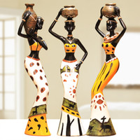 antique african art - New Home Decoration Resin Crafts Home Accessories Living Room Decoration Unique Doll Polyresin Crafts African Features set
