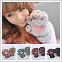 Wholesale Cute women glove winter glove cartoon cat claw gloves thick plush fingerless gloves cartoon gloves A0324