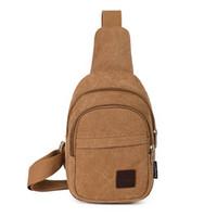 Wholesale Men Women Casual Vintage Canvas Chest Male Bag Sling Pack Unbalanced crossbody bag Couples Single shoulder messenger bag