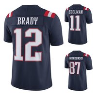 Wholesale Men s New american football jerseys Tom Brady jersey Rob Gronkowski Julian Edelman Navy Color Rush Limited Jersey