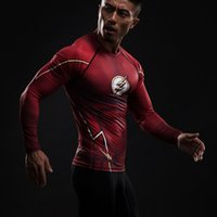 Wholesale Compression Shirt Flash D Printed T shirts Men Raglan Long Sleeve Superman Flash Cosplay Costume Fitness Clothing Tops Male