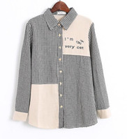 Wholesale Spring women s new Korean cotton black and white mosaic fish long sleeve cozy shirt