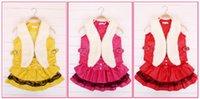 big clothes brands - 2016 Christmas new children s clothing cute big hair collar vest princess dress party dress