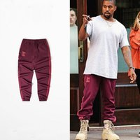 al por mayor high waist pants-Alta Calidad Kanye West Temporada 4 Red Jogger Pant Hombre Mujer Cintura Elástica Para Dace Sport Running