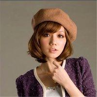 Grossiste-Femmes populaires chaude chapeau occasionnels Beret Beanie chapeau Baggy solides laine Vintage chapeaux Beanie printemps hiver Faux chapeau fourrure pour femme