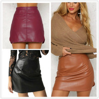 Wholesale Sexy Skirt Circular Seam Hem New Arrival OL PU Leather Skirts High Waist Sexy Vintage A Line Office Skirts Womens Colors