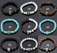 Wholesale Lava rock Beads Bracelet New Fashion Cheap Jewelry Gold Plated Lion Head Bangles Black Lava Stone Buddha Beads Bracelets For Women