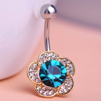 Wholesale Emerald Rhinestone Flowers Piercing Belly Button Ring Barbell Piercing Ring Body Jewelry Summer Style Women Body Chains Plug
