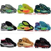 Wholesale 2017 white mens indoor soccer shoes cleats boots football shoes magista obra fg tf ic turf original soccer cleats blackout soccer turf cleat