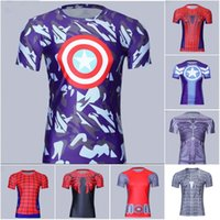 america fitness - Captain America compression T Shirt D Printed T shirts Men Avengers Civil War Tee Fitness Clothing Male Crossfit Tops