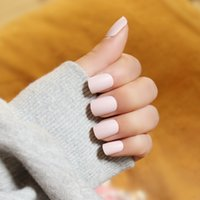 Wholesale pure color matte cream pink false nails with glue Cute fake nails Japanese short size full nail tips lady Nail art Bride