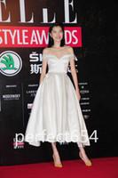 Chic fuera de los plisados hombro Tea-length Ivory Evening Dresses Custom Made Ocasión Vestidos Red Carpet Gowns