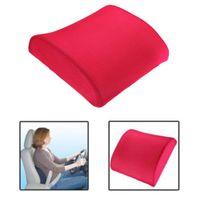achat en gros de oreillers de soutien lombaire-Mémoire Foam Lumbar dos Support Coussin Oreiller pour Home Office Car Auto Seat Rose Car intérieur Accessoires Livraison gratuite