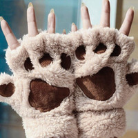 Wholesale 2pairs Woman Winter Fluffy Bear Cat Plush Paw Claw Glove Novelty soft toweling lady s half covered gloves mittens christmas gift