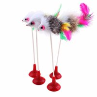 Wholesale Hot Funny Pet Cat Toys Feather False Mouse Bottom Sucker Cat Kitten Playing Toys Pet Seat Scratch Toy cm