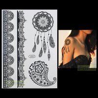 Wholesale PC Fashion Flash Waterproof Tattoo Women Black Henna Jewel Lace Strap BJ007 Dreamcatcher Shell Feather Temporary Tattoo Stick