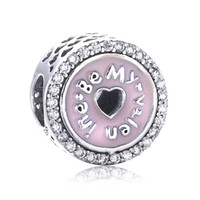 Regalo de Navidad 925 de plata esterlina amor corazón encantos afortunados cuentas de Pandora Pulsera de cuentas de esmalte rosa para la joyería DIY marcado