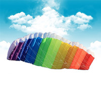 Wholesale 2016 New Hot Power Dual Line Stunt Parafoil Parachute Rainbow Sports Beach Kite with m Nylon Flying Lines For Beginner