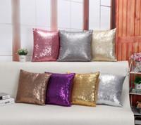 Wholesale Solid Color Glitter Sequins Throw Pillow Decorative Case Home Car Comfortable Decor Waist Cushion Cover pillow case