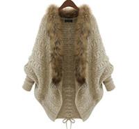 al por mayor bate de la mujer del cabo-Venta al por mayor 2016 Otoño Invierno Cardigans Sweater Chales Big Envuelve Bat manga de punto de chaqueta de pieles Mantón Collar Suéter Poncho Cape Coat