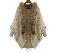 Wholesale Autumn Winter Women Cardigans Sweater Shawls Big Wraps Bat Sleeve Knit Cardigan Fur Shawl Collar Sweater Poncho Cape Coat