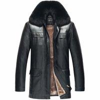 aviator jacket for men - 2016 Aviator flight jacket for men s genuine leather jacket fur winter coats sheepskin fur collar brown black motorcycle parka