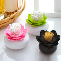 Wholesale New Plastic Lotus Cotton Swab Box Cotton Bud Holder Lotus Toothpicks Holder Toothpick Case Novelty Households Plastic Organizer