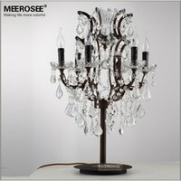 Wholesale Wrought Iron Lights Crystal Table Lamps Antique Retro Crystal Table Light Lighting Living Room Cafe Bedroom Decorative Light