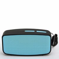 Wholesale 50PCS Portable mini Bluetooth wireless speaker music play by TF card USB Aux FM radio black case with blue grill smart speakers
