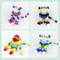 al por mayor calcetín del bebé juguetes hechos a mano-4 el bebé hecho a mano del calcetín juega el regalo de cumpleaños relleno suave de los juguetes del dool animal del mono del calcetín para los niños