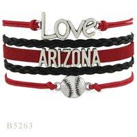 arizona metal - Custom Infinity Love Arizona Baseball Metal Charm Bracelets Christmas Gifts Bracelet Red Black Leather Custom Womens Mens Bracelet